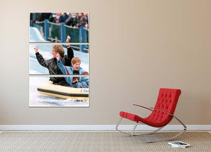 Princess Diana with Prince Harry on a water ride 3 Split Panel Canvas Print - Canvas Art Rocks - 2