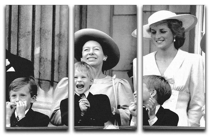 Princess Diana with Prince Harry watching Trooping the Colour 3 Split Panel Canvas Print