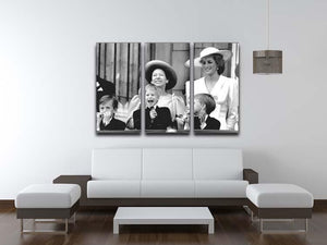 Princess Diana with Prince Harry watching Trooping the Colour 3 Split Panel Canvas Print - Canvas Art Rocks - 3
