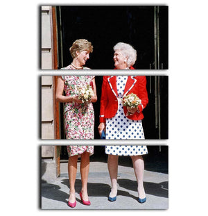 Princess Diana with US First Lady Barbara Bush 3 Split Panel Canvas Print - Canvas Art Rocks - 1
