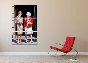 Princess Diana with US First Lady Barbara Bush 3 Split Panel Canvas Print - Canvas Art Rocks - 2