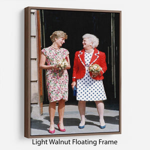 Princess Diana with US First Lady Barbara Bush Floating Frame Canvas