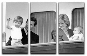 Princess Diana with family aboard the Royal Yacht Britannia 3 Split Panel Canvas Print - Canvas Art Rocks - 1