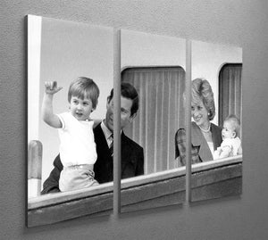 Princess Diana with family aboard the Royal Yacht Britannia 3 Split Panel Canvas Print - Canvas Art Rocks - 2
