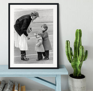 Princess Diana with little Prince Harry and Prince William Framed Print - Canvas Art Rocks - 1