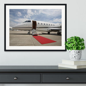Private airplane with red carpet Framed Print - Canvas Art Rocks - 1