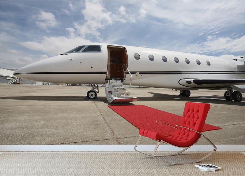 Private airplane with red carpet Wall Mural Wallpaper - Canvas Art Rocks - 1