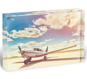 Propeller plane parked Acrylic Block - Canvas Art Rocks - 1