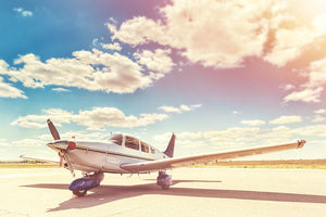 Propeller plane parked Wall Mural Wallpaper - Canvas Art Rocks - 1