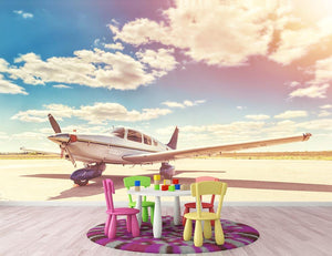 Propeller plane parked Wall Mural Wallpaper - Canvas Art Rocks - 3