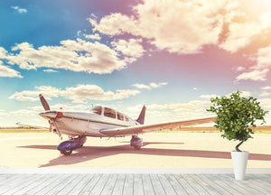 Propeller plane parked Wall Mural Wallpaper - Canvas Art Rocks - 4