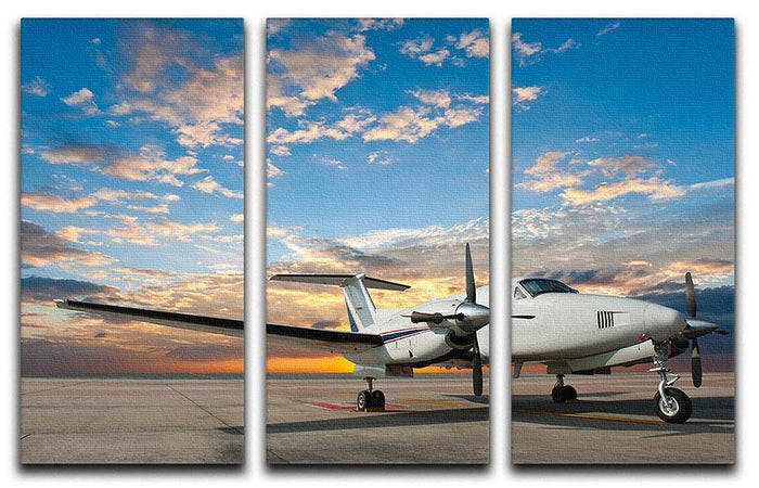 Propeller plane parking at the airport 3 Split Panel Canvas Print