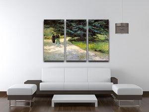 Public Garden with Couple and Blue Fir Tree The Poet s Garden III by Van Gogh 3 Split Panel Canvas Print - Canvas Art Rocks - 4