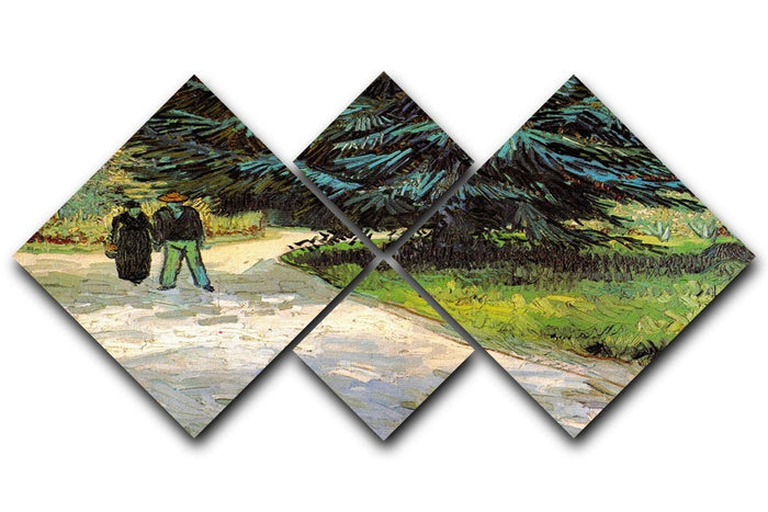 Public Garden with Couple and Blue Fir Tree The Poet s Garden III by Van Gogh 4 Square Multi Panel Canvas