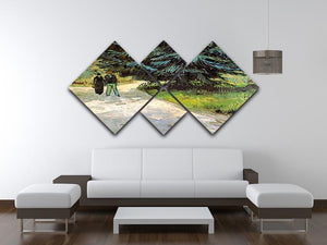 Public Garden with Couple and Blue Fir Tree The Poet s Garden III by Van Gogh 4 Square Multi Panel Canvas - Canvas Art Rocks - 3