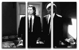 Pulp Fiction Black and White 3 Split Panel Canvas Print - Canvas Art Rocks - 4