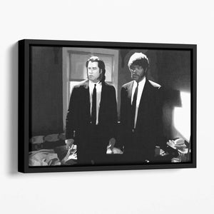 Pulp Fiction Black and White Floating Framed Canvas