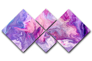 Purple Abstract Marble 4 Square Multi Panel Canvas - Canvas Art Rocks - 1