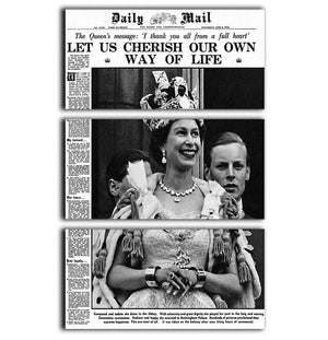 Queen Elizabeth II Coronation Daily Mail front page 3 June 1953 3 Split Panel Canvas Print - Canvas Art Rocks - 1