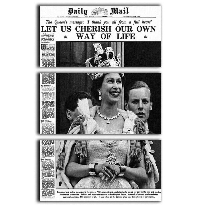 Queen Elizabeth II Coronation Daily Mail front page 3 June 1953 3 Split Panel Canvas Print