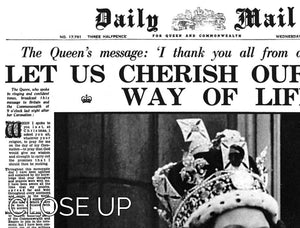 Queen Elizabeth II Coronation Daily Mail front page 3 June 1953 3 Split Panel Canvas Print - Canvas Art Rocks - 3