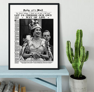Queen Elizabeth II Coronation Daily Mail front page 3 June 1953 Framed Print - Canvas Art Rocks - 1