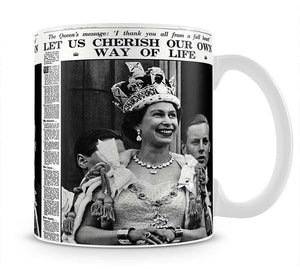 Queen Elizabeth II Coronation Daily Mail front page 3 June 1953 Mug - Canvas Art Rocks - 1
