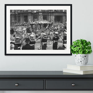 Queen Elizabeth II Coronation procession at Charing Cross Framed Print - Canvas Art Rocks - 1