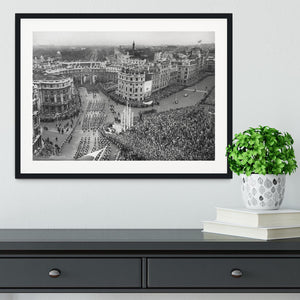 Queen Elizabeth II Coronation procession in Trafalgar Square Framed Print - Canvas Art Rocks - 1
