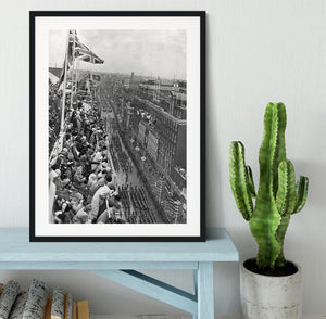 Queen Elizabeth II Coronation procession pass on Oxford Street Framed Print - Canvas Art Rocks - 1