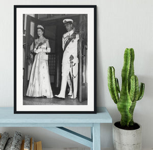 Queen Elizabeth II and Prince Philip during a tour of Nigeria Framed Print - Canvas Art Rocks - 1