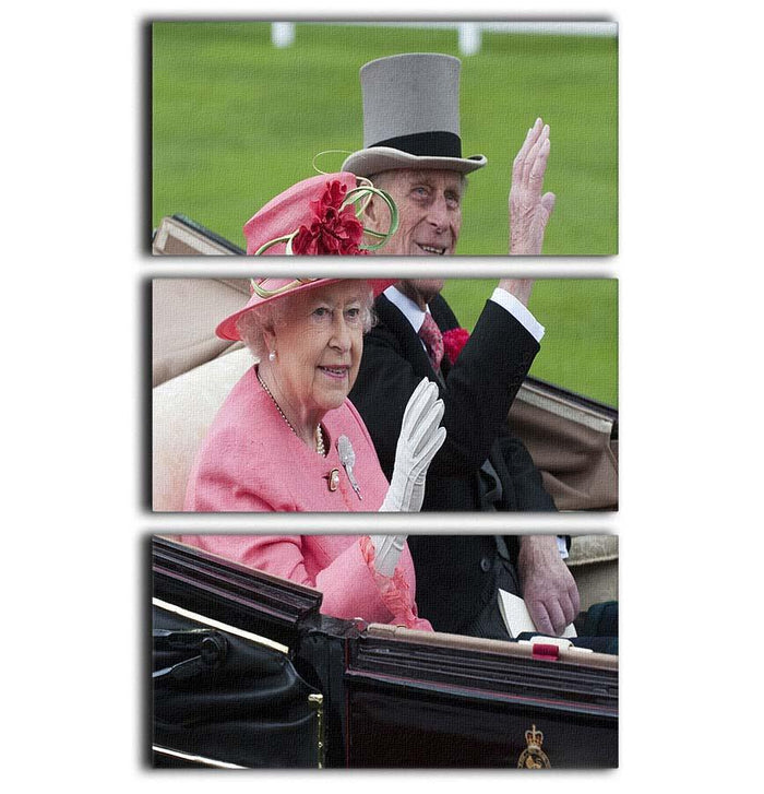 Queen Elizabeth II and Prince Philip in their carriage at Ascot 3 Split Panel Canvas Print