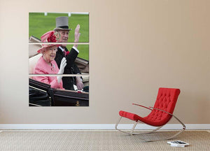 Queen Elizabeth II and Prince Philip in their carriage at Ascot 3 Split Panel Canvas Print - Canvas Art Rocks - 2