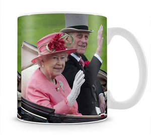 Queen Elizabeth II and Prince Philip in their carriage at Ascot Mug - Canvas Art Rocks - 1