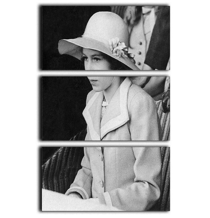 Queen Elizabeth II as a child seated in a hat 3 Split Panel Canvas Print