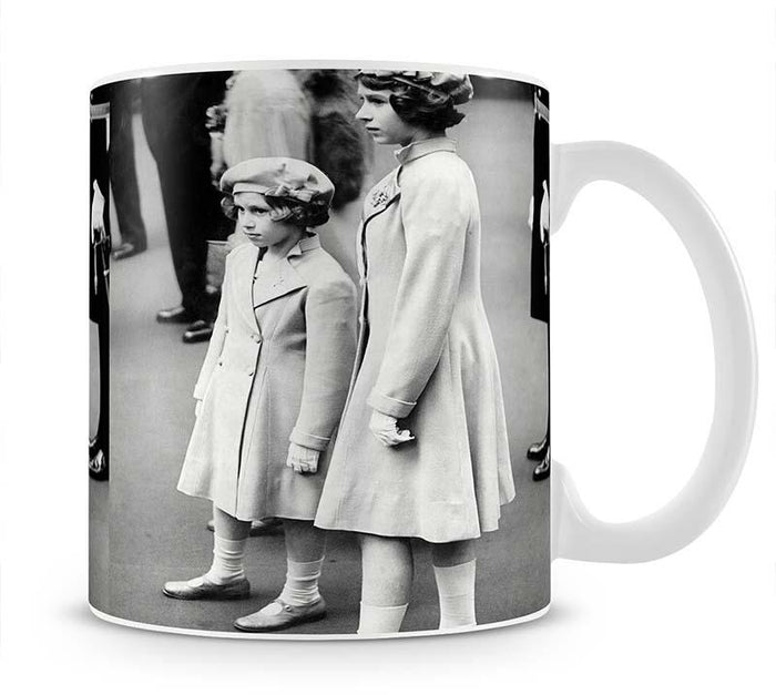 Queen Elizabeth II as a child with her sister in matched outfits Mug