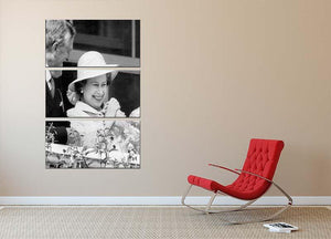 Queen Elizabeth II charmed at the Epsom Derby 3 Split Panel Canvas Print - Canvas Art Rocks - 2