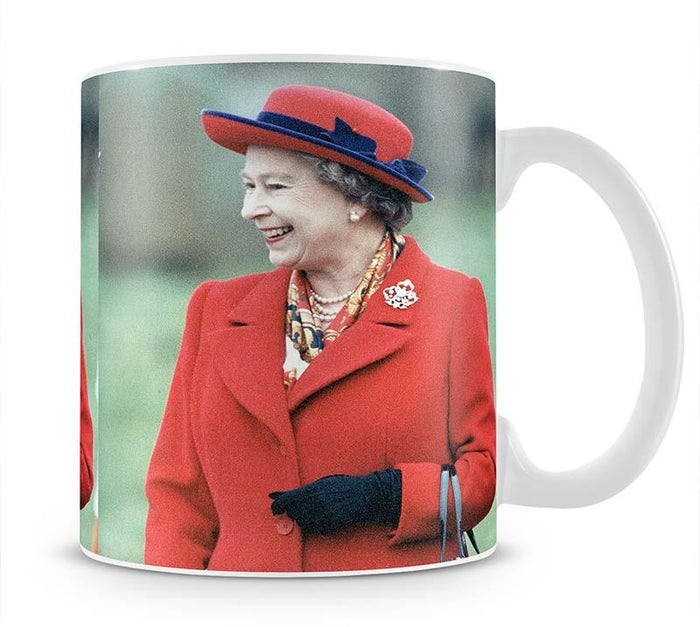 Queen Elizabeth II in a striking red coat at church in Norfolk Mug