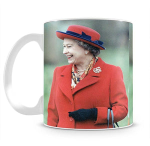 Queen Elizabeth II in a striking red coat at church in Norfolk Mug - Canvas Art Rocks - 2