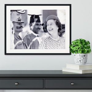 Queen Elizabeth II laughing during her tour of India Framed Print - Canvas Art Rocks - 1