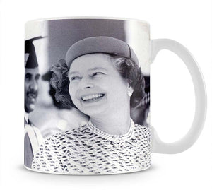 Queen Elizabeth II laughing during her tour of India Mug - Canvas Art Rocks - 1