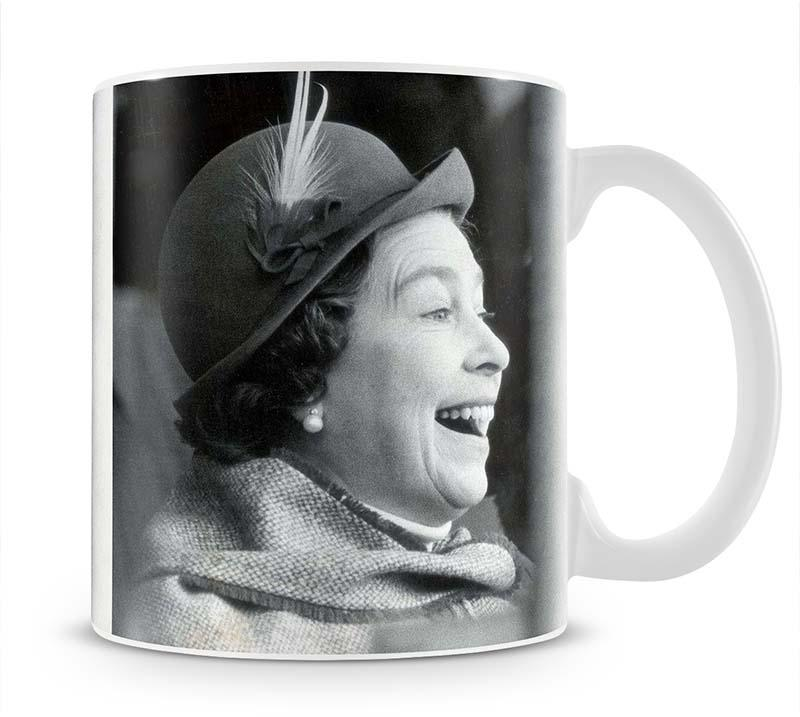Queen Elizabeth II looking pleased at the Badminton Horse Trials Mug - Canvas Art Rocks - 1
