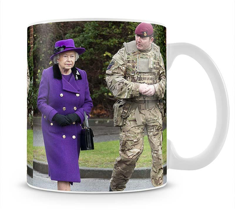 Queen Elizabeth II meeting members of the Household Cavalry Mug - Canvas Art Rocks - 1