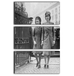 Queen Elizabeth II with Princess Margaret arriving at a wedding 3 Split Panel Canvas Print - Canvas Art Rocks - 1