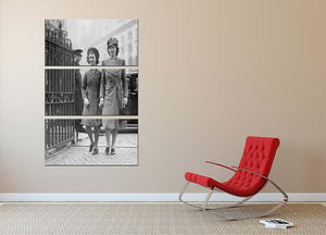 Queen Elizabeth II with Princess Margaret arriving at a wedding 3 Split Panel Canvas Print - Canvas Art Rocks - 2