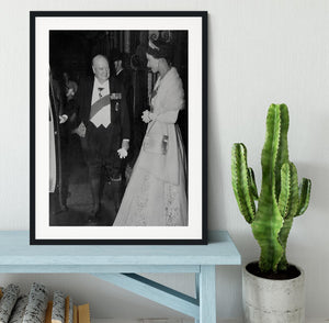 Queen Elizabeth II with Winston Churchill at Downing Street Framed Print - Canvas Art Rocks - 1