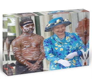 Queen Elizabeth II with an Aboriginal dancer in Australia Acrylic Block - Canvas Art Rocks - 1