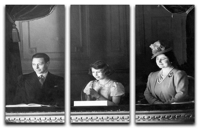 Queen Elizabeth II with her parents entranced viewing the stage 3 Split Panel Canvas Print