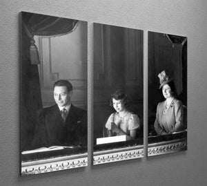 Queen Elizabeth II with her parents entranced viewing the stage 3 Split Panel Canvas Print - Canvas Art Rocks - 2
