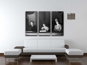 Queen Elizabeth II with her parents entranced viewing the stage 3 Split Panel Canvas Print - Canvas Art Rocks - 3